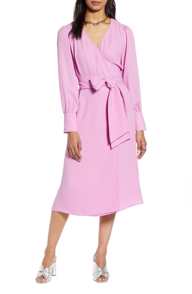 Halogen Long-Sleeve Wrap Midi Dress
