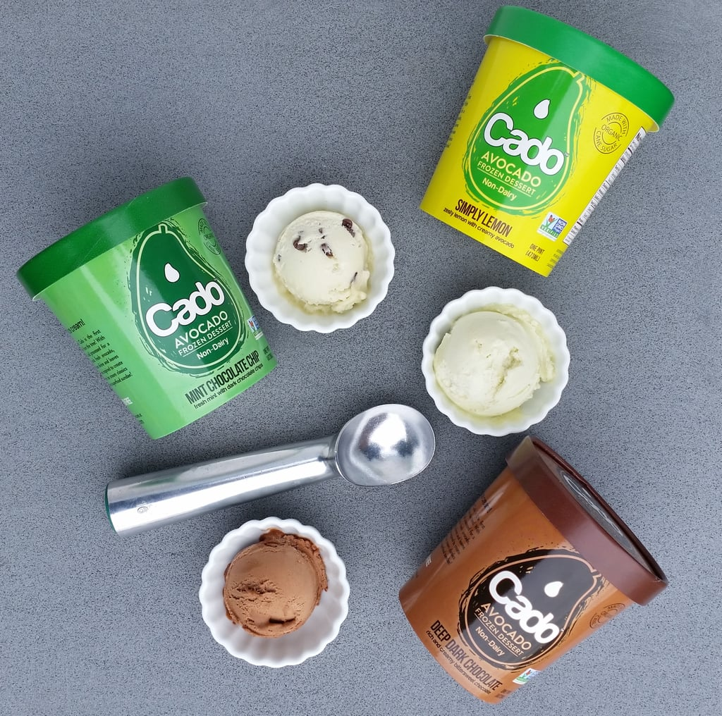 """If you're vegan, love avocados, and/or just want to try something new, say hello to Cado. The brand, which was founded in 2016 by a mother, daughter, and son in Iowa, sells soy-free, vegan, gluten-free, and nondairy avocado-based ice cream. As of now, there are only three flavors: Deep Dark Chocolate, a rich and creamy bittersweet chocolate; Simply Lemon, a zesty lemon with creamy avocado; and Mint Chocolate Chip, a fresh mint with dark chocolate chips. Is your mouth salivating yet?  """"We want everybody to be eating avocado ice cream,"""" Meghan Dowd, one of the founders, told POPSUGAR. """"If you're going to eat ice cream, it can be delicious and nutritious. Cado is the best of both, and it doesn't taste like avocado."""" Dowd also revealed four more flavors are currently in the works: Salted Caramel, Vanilla, Cherry Amaretto, and Java Chip. The ice cream is sold at bigger chain stores such as Whole Foods, ShopRite, The Fresh Market, and local health food stores too. It retails for $7-$8, depending on the location and store you're shopping in. If you haven't already put this on your shopping list, get on it!      Related:                                                                                                           Drop Everything and Pick Up All 8 of These Dairy-Free Ice Creams From the Frozen Section"""