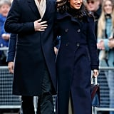 Meghan Wearing a Double-Breasted Navy Coat by Mackage