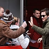 Jake Gyllenhaal said hi to fans in Berlin.