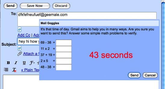 Gmail's Mail Goggles