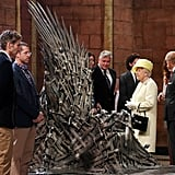 "Queen Elizabeth II visits the ""Game of Thrones"" set in 2014"