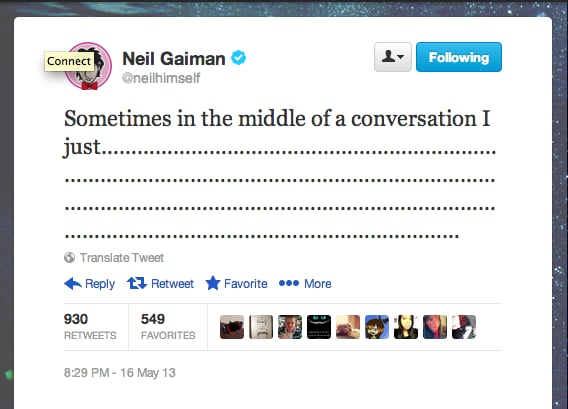Author Neil Gaiman, director of a recent Doctor Who episode, often digresses.