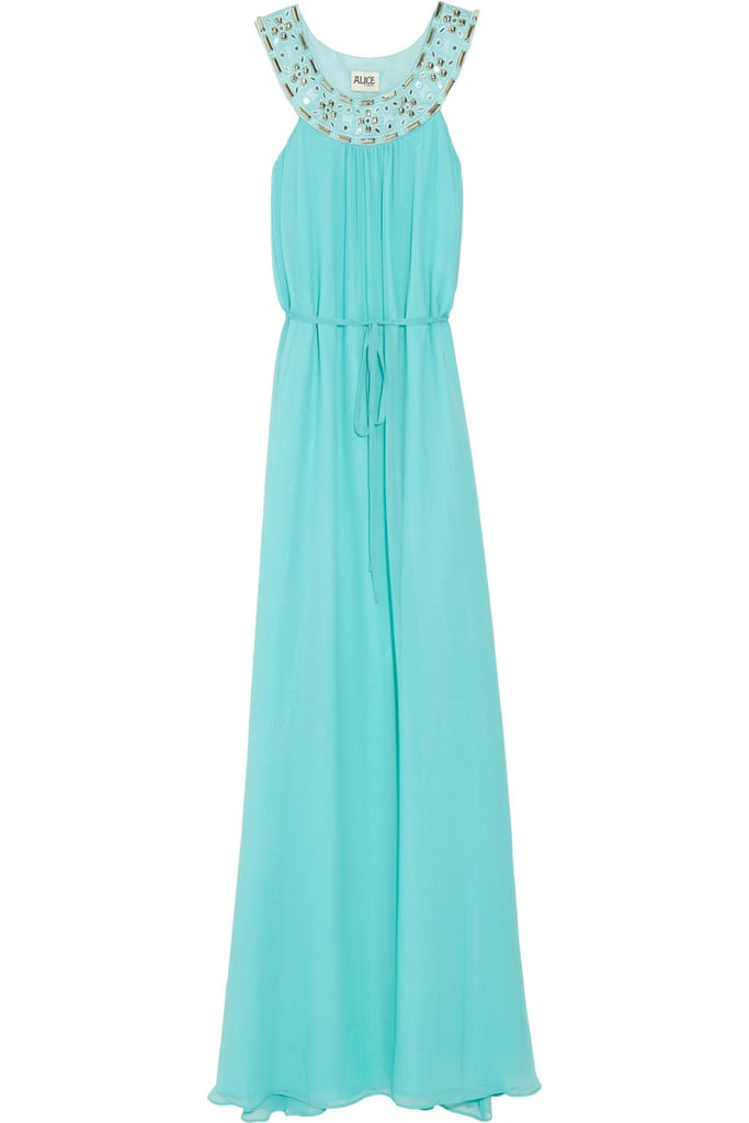 Isn't this dress just dreamy? Perfect for wedding season.  Alice by Temperley Tarini Embellished Silk Gown ($640)