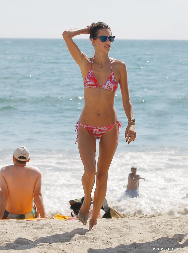 Alessandra Ambrosio rocked a tiny bikini on the beach.