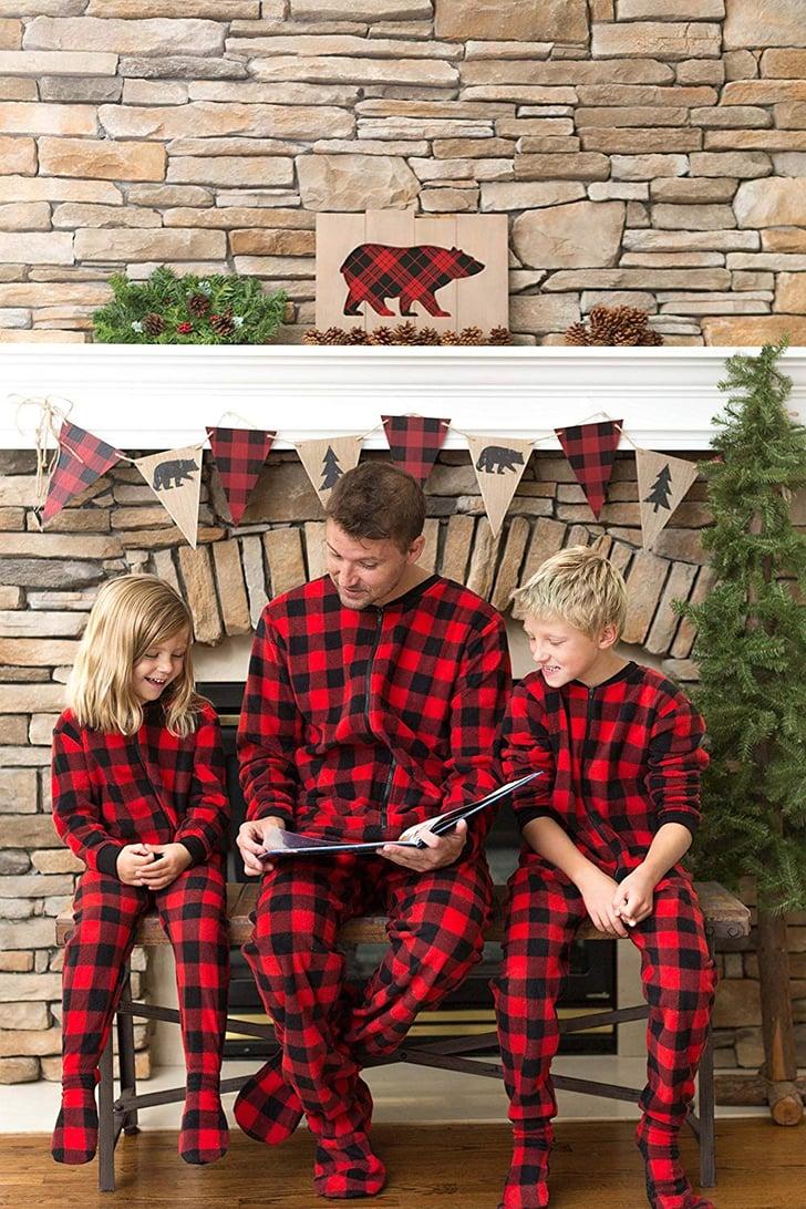 sleepytimepjs family matching plaid fleece onesie pajamas