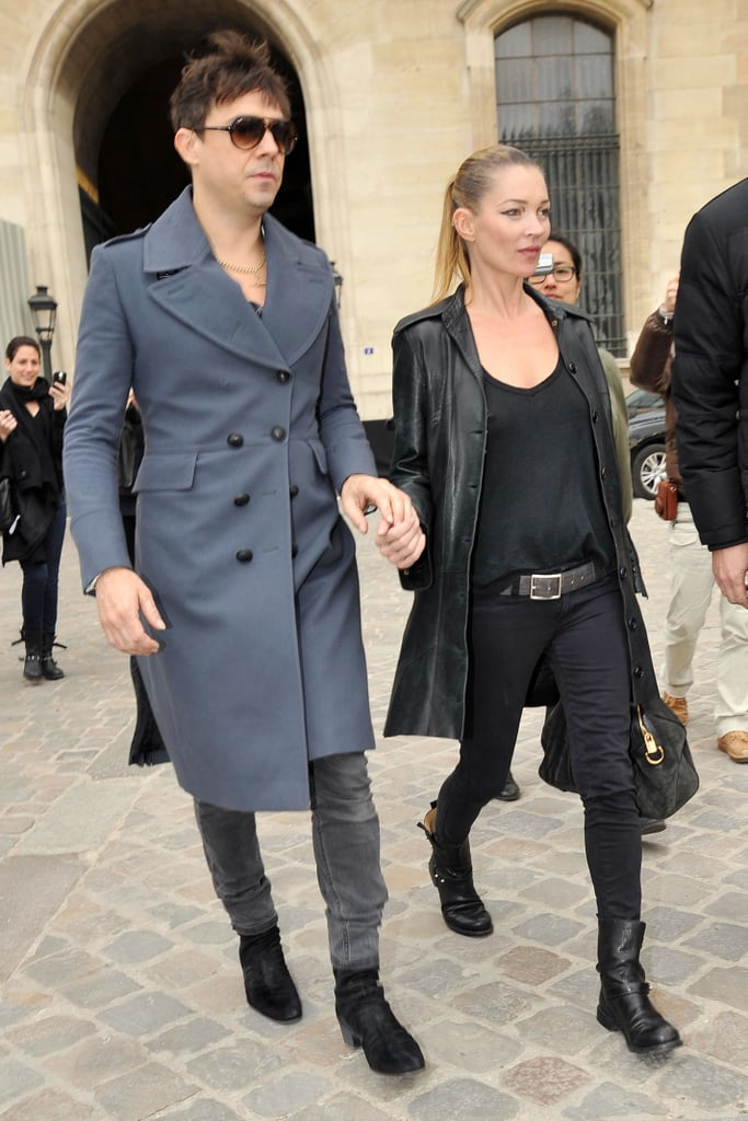 Kate Moss and Jamie Hince left the Louis Vuitton show yesterday at Paris Fashion Week holding hands, after Kate closed the show while smoking a cigarette. Kate's been promoting Comic Relief ahead of the big show on March 18. She's also stripped down in a sexy Liu Jo clothing campaign, showing her pace isn't slowing even though she has her wedding to plan!
