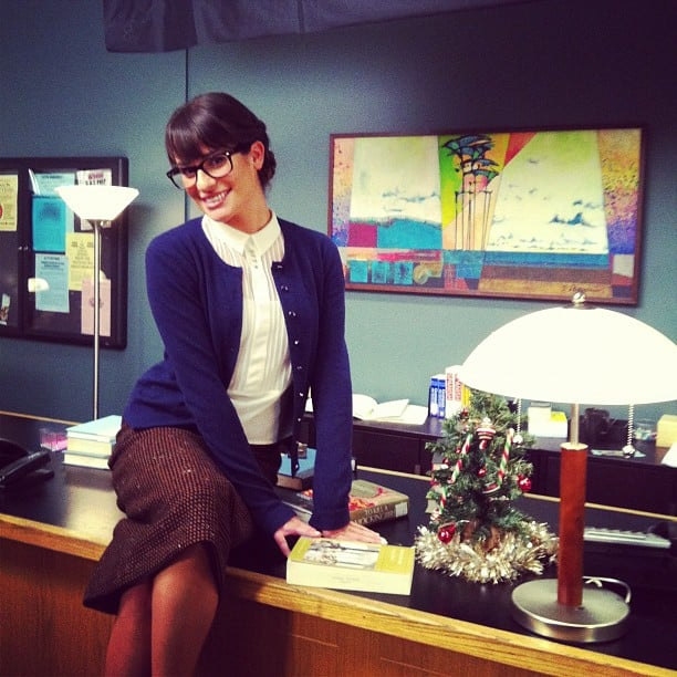 Lea Michele posed on the set of Glee while filming the show's holiday episode. Source: Instagram user msleamichele