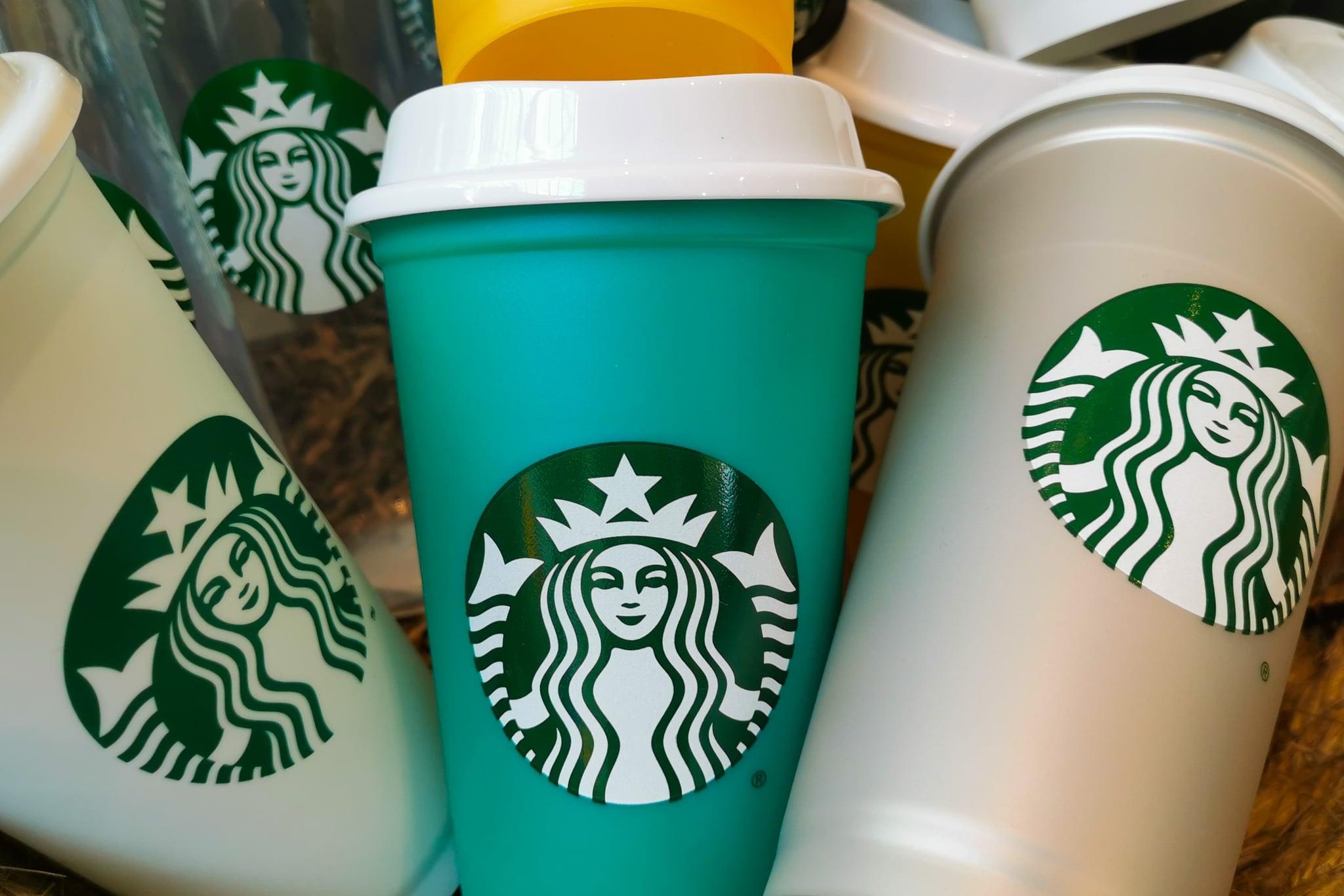 Reusabkle Starbucks cups are seen in Starbucks Coffee shop in Krakow, Poland on May 14, 2021. (Photo by Beata Zawrzel/NurPhoto via Getty Images)