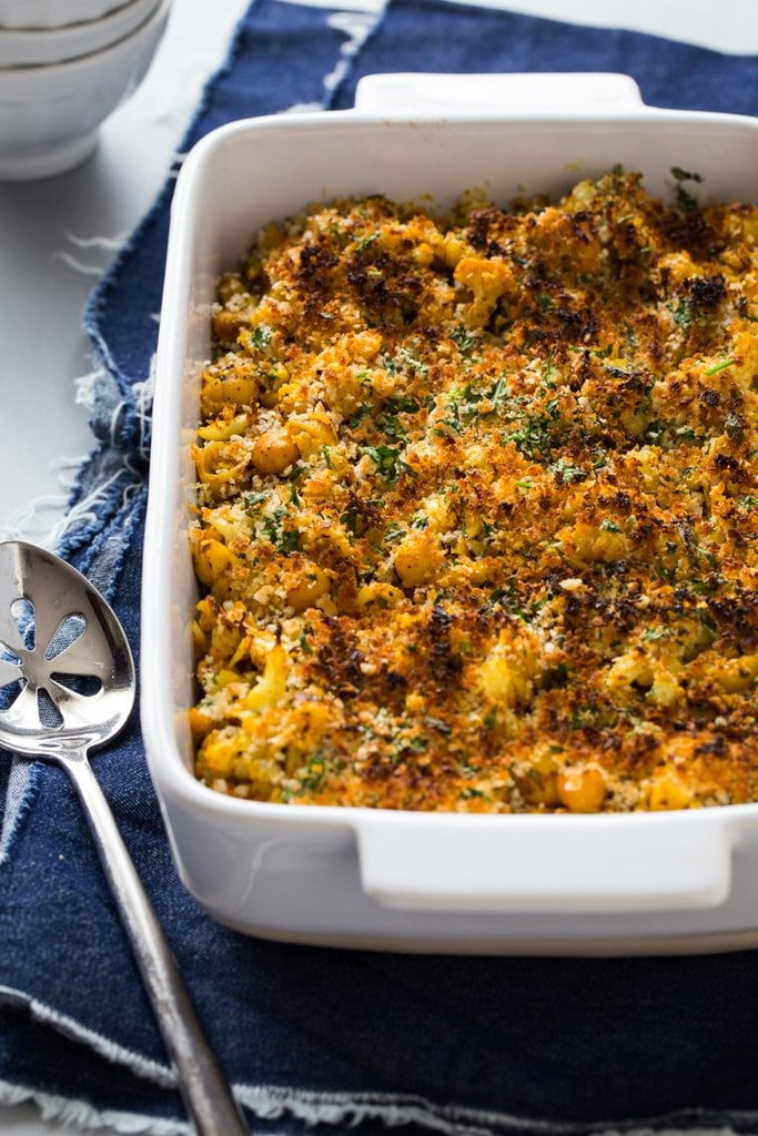 Roasted Cauliflower Chickpea Mac and Cheese