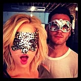 Ashley Benson tried on sparkly masks.  Source: Instagram user ashleybenzo