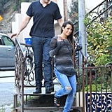 Glee's Cory Monteith and Lea Michele waved.