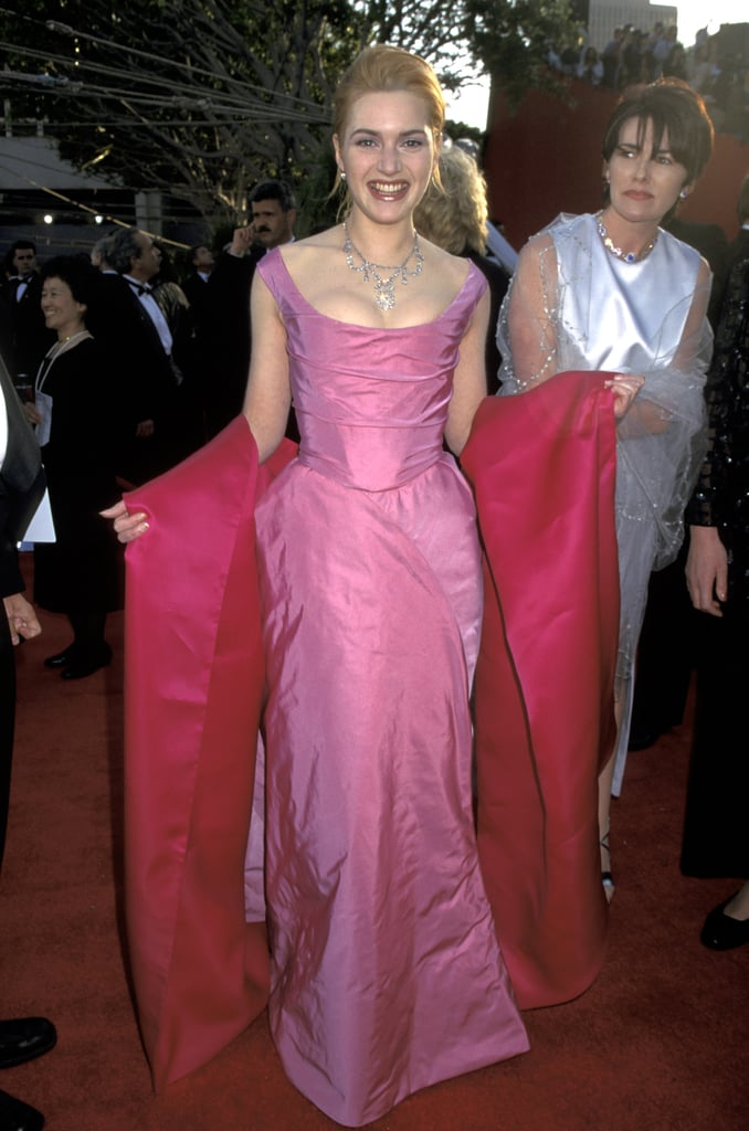 Kate Winslet wore a pink cleavage-baring gown to the 1996 Oscars.