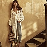 To re-create this look from Johanna Ortiz's resort collection, you'll need a pair of fringed denim and a crisp white collared shirt dress. We'd style it with a basket bag and sandals.