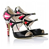 The double strap and hot pink flashes liven up these black heels.  Miu Miu Tri Color Leather Strappy Sandals (£325)