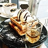 Waffles and coffee in Batman dishes