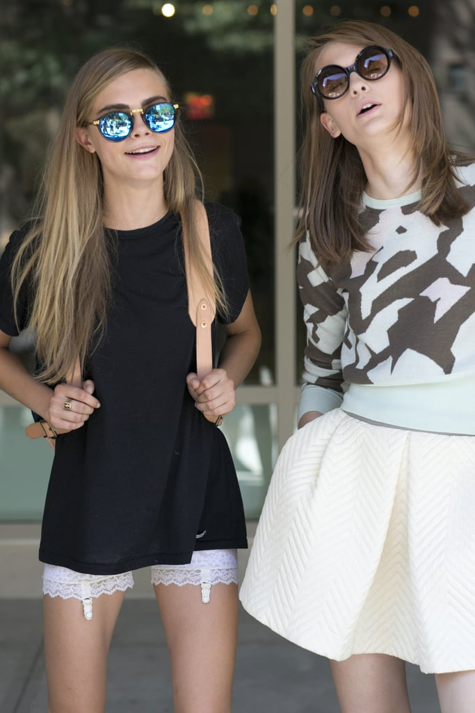 Two pairs of quirky, cool-girl shades for each of these ladies. Source: Greg Kessler