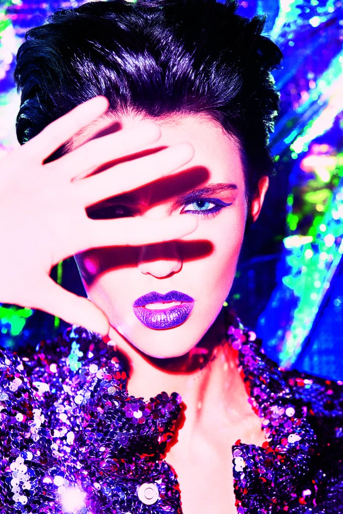 Ruby Rose in the Urban Decay Vice Special Effects Lipstick Topcoat Campaign