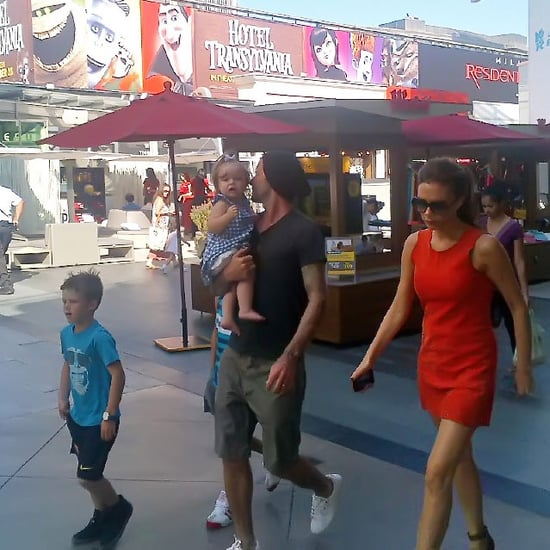David and Victoria Beckham With Kids at a Mall