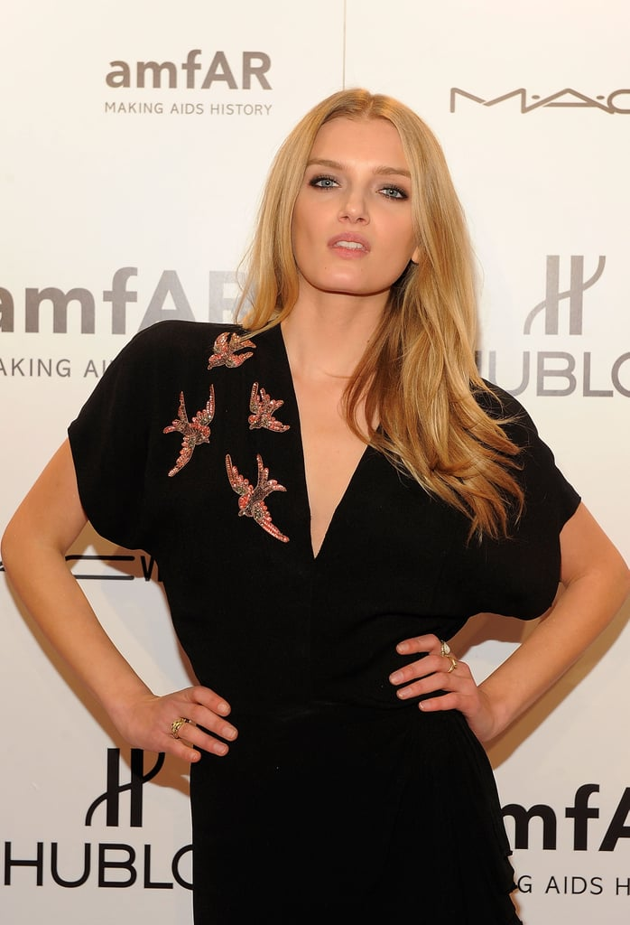 Lily Donaldson attended the 2012 amfAR gala in NYC.