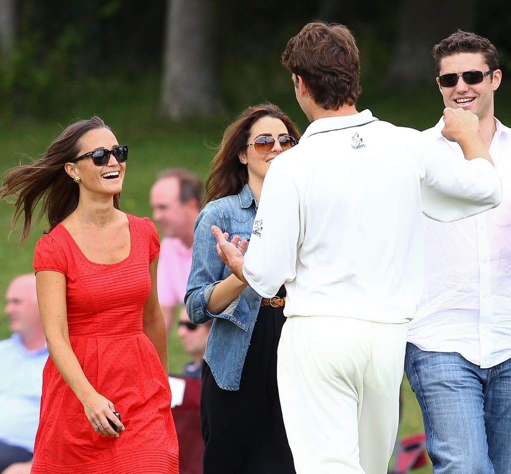 Pippa Middleton was all smiles in a bright red dress as she cheered on boyfriend Alex Loudon at his Cricketer Cup Final in London on Sunday. Alex's team made it to the last match of the tournament, though unfortunately he didn't take home the victory. He still was the winner of Pippa's affection as the two embraced after the match. She has been enjoying a leisurely Summer of work and time with her friends, while Pippa Middleton mania is still going on stateside. Pippa had her own TLC special, which aired earlier in the month and which raised new debate about her very famous royal wedding derriere.