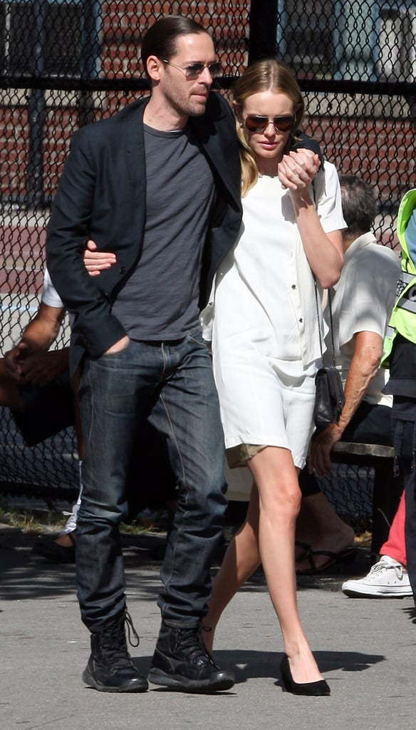 """Kate Bosworth and her fiancé, Michael Polish, visited Ground Zero in NYC yesterday, on the 11th anniversary of Sept. 11. Kate reflected on her visit to the 9/11 memorial by tweeting a picture of the Freedom Tower with the caption, """"At ground zero today. My heart is with the heroes and families. Proud of the strength and resilience of this country."""" She broke from making the rounds at Lincoln Center to pay her respects. Last week, Kate hit the streets for Fashion's Night Out and attended a party in honor of Proenza Schouler's new Big Apple store. On Monday, Kate sat front row at Theyskens' Theory with Michael by her side."""