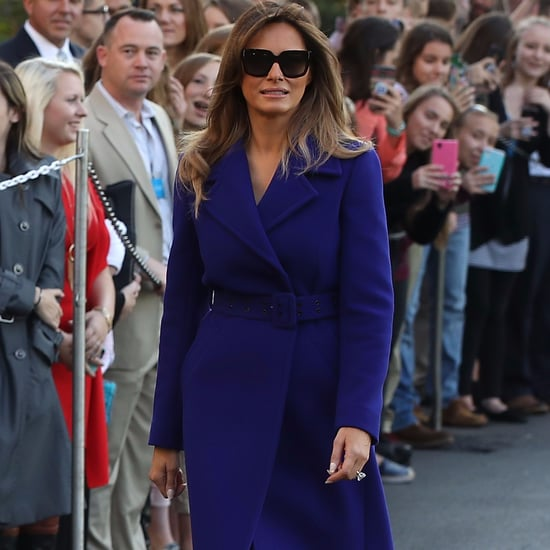 Melania Trump Purple Coat and Heels 2017