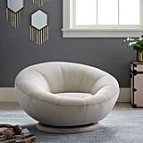 Lustre Velvet Groovy Swivel Chair