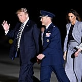 Melania Wearing the Dior Houndstooth Suit in 2018 at Joint Base Andrews