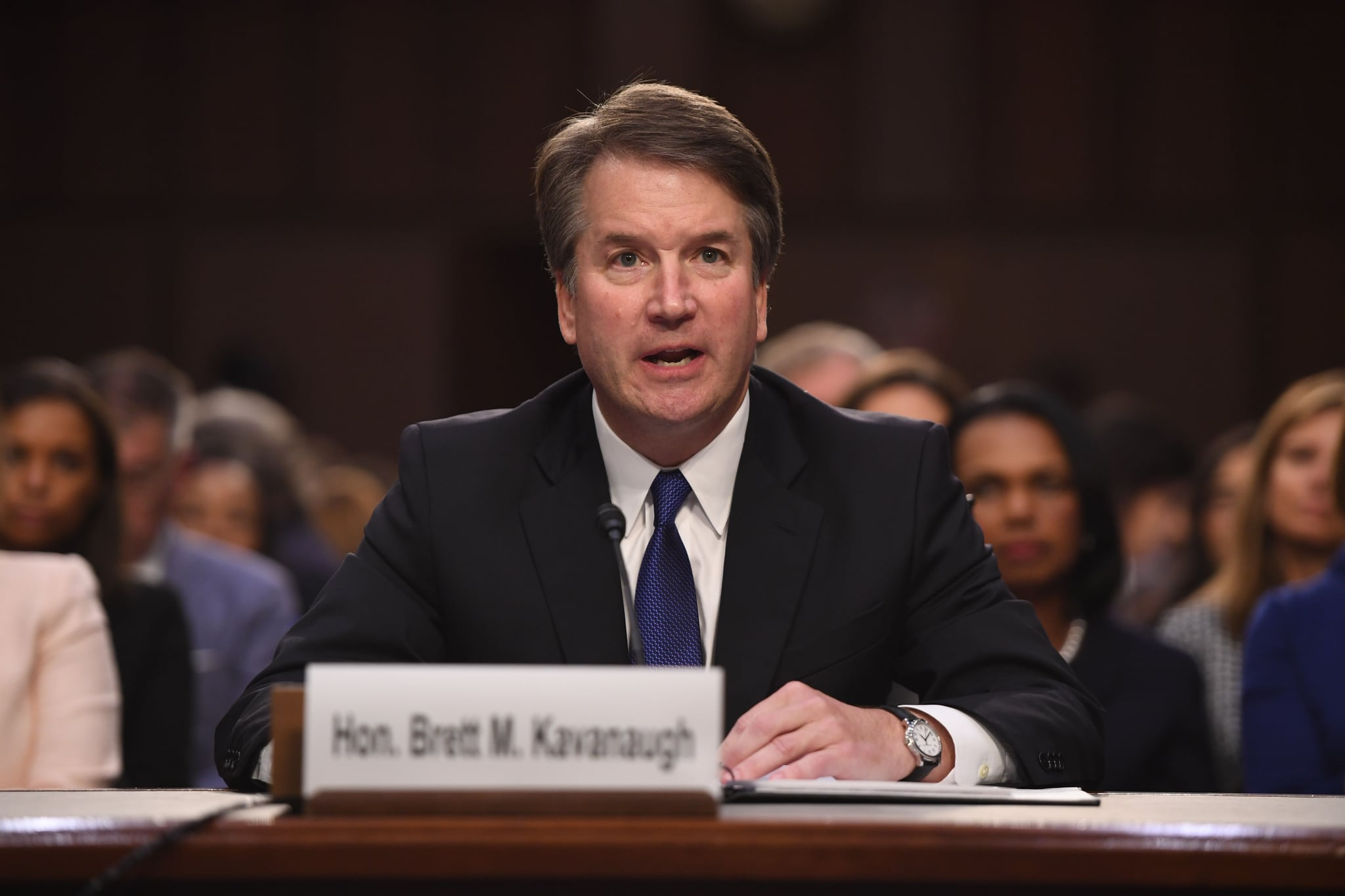 Judge Brett Kavanaugh speaks during his US Senate Judiciary Committee confirmation hearing to be an Associate Justice on the US Supreme Court, on Capitol Hill in Washington, DC, September 4, 2018. - President Donald Trump's newest Supreme Court nominee Brett Kavanaugh is expected to face punishing questioning from Democrats this week over his endorsement of presidential immunity and his opposition to abortion. (Photo by SAUL LOEB / AFP)        (Photo credit should read SAUL LOEB/AFP/Getty Images)