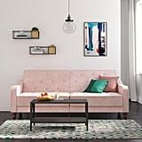 Novogratz Vintage Tufted Velvet Split-Back Futon in Pink