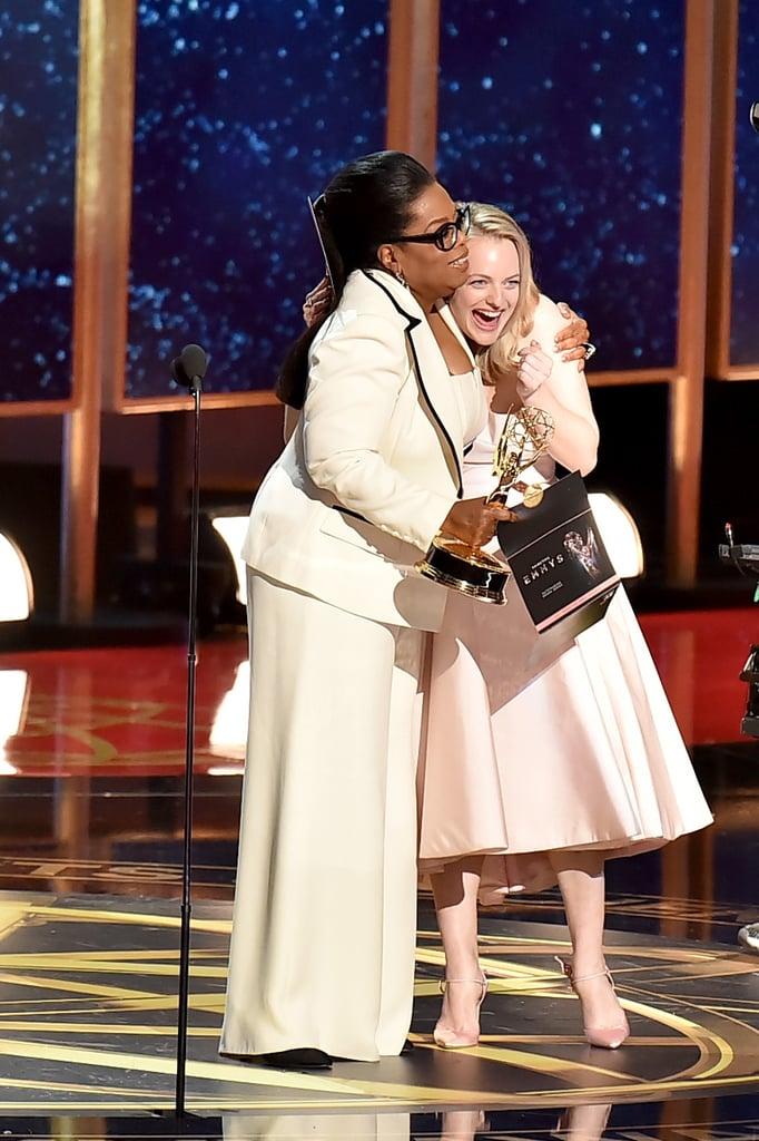 Oprah Winfrey and Elisabeth Moss at the 2017 Emmy Awards