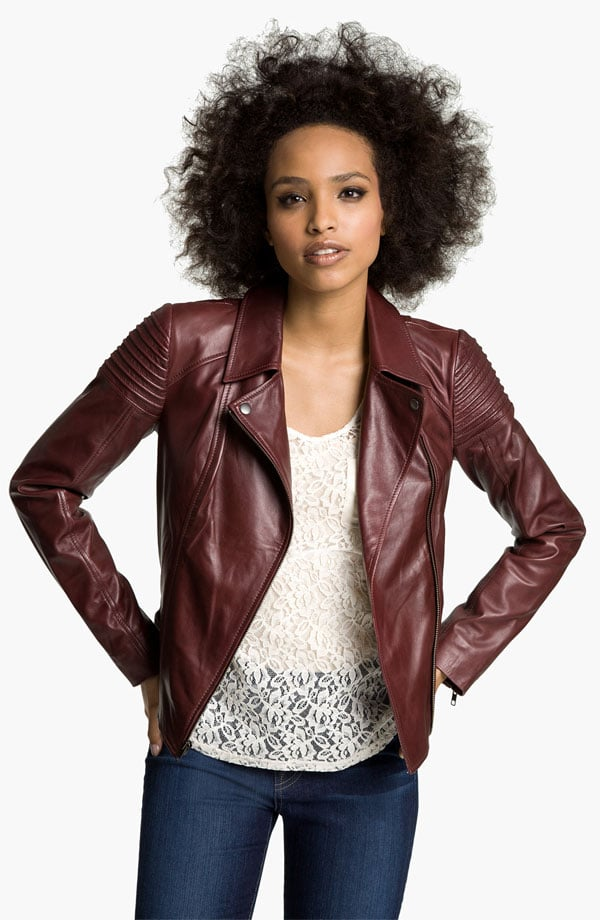 Trade your black leather jacket for a one in a rich shade of red and watch the compliments roll in.  Trouvé Quilted Leather Biker Jacket ($298)