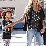 Heidi Klum and her son Johan went to the movies in LA on Sunday.