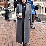 Jena Malone knows the key to a great Winter outfit is a go-with-anything coat.