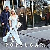 Lady Gaga took her French bulldog for a walk in NYC on Saturday.