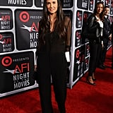 Demi Moore wore a sheer shirt.