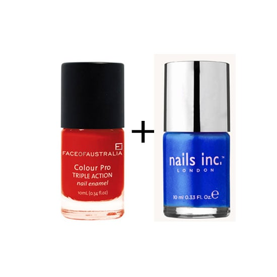 Australia Day doesn't have to mean Southern Cross tattoos and the Aussie flag worn as a cape — it is possible to style it up right. Enter patriotic nail duos! If you want to keep your love for our sunburnt country a little low-key this week and right through into the weekend, why not go cobalt or navy blue with a red feature nail, or visa versa? Just remember to keep your talons short, neat and chic. Click through to see our favourite, perfect Australia Day nail polish pairs.