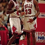 Michael Jordan and Scottie Pippen During a First Round Play-Off Game in 1995