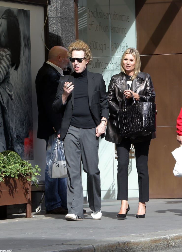 """Kate Moss and her hairdresser pal James Brown got lunch and shopped along London's Bond Street yesterday afternoon. It seems Kate hasn't had her fill of fashion after attending the star-studded Spring 2013 Mulberry show in the morning alongside Alexa Chung, Lana Del Rey, and Olivia Palermo. James was on hand to see Mulberry creative director Emma Hill's latest designs as well. He summed up his fun few hours with Kate by tweeting, """"What a fab day!"""" Kate threw herself into the London Fashion Week fun after wrapping up her bikini-filled Ibiza vacation. She treated herself to the getaway after doing a range of projects, including the October 2012 cover of Vogue Paris alongside her buddy George Michael."""