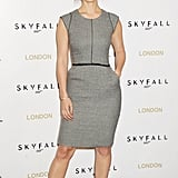 Bérénice opted for a ladylike Dolce & Gabbana sheath dress and Sergio Rossi pumps at the Skyfall London photocall.