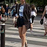 Style Denim Shorts With a Checkered Blazer and Black Heels