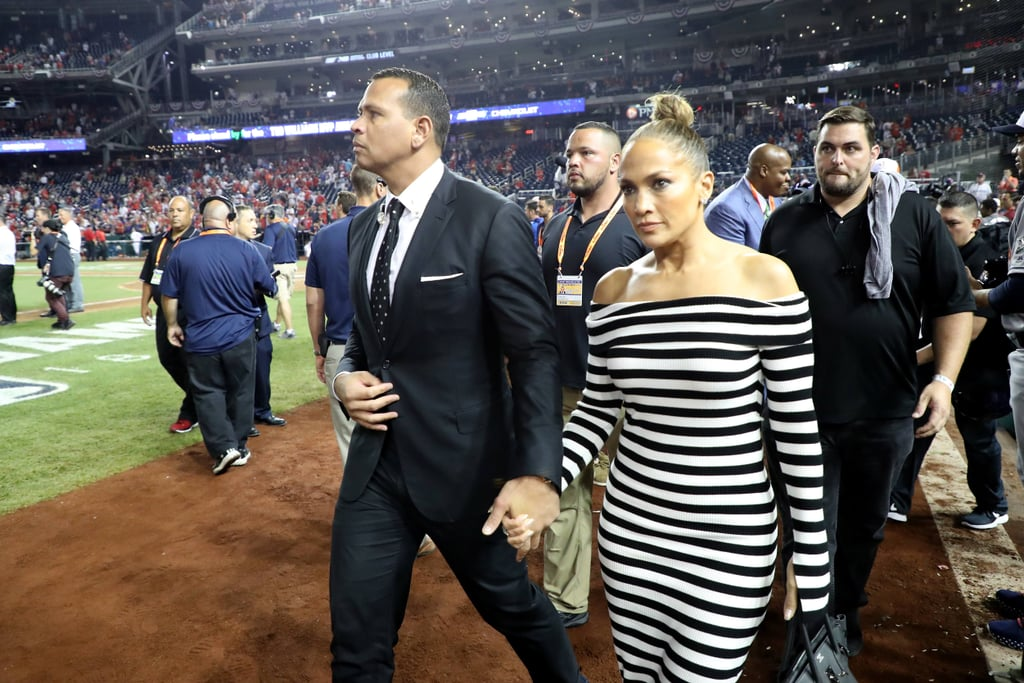 Jennifer Lopez's Striped Dress at Baseball Game 2018