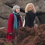 Drew Barrymore got in front of the cameras with her costar in England on Monday.
