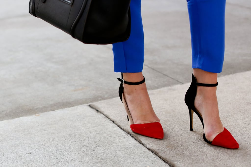 Colorblocked with a modern, minimalist silhouette — the perfect pair of pumps to take you from the office to a night out.