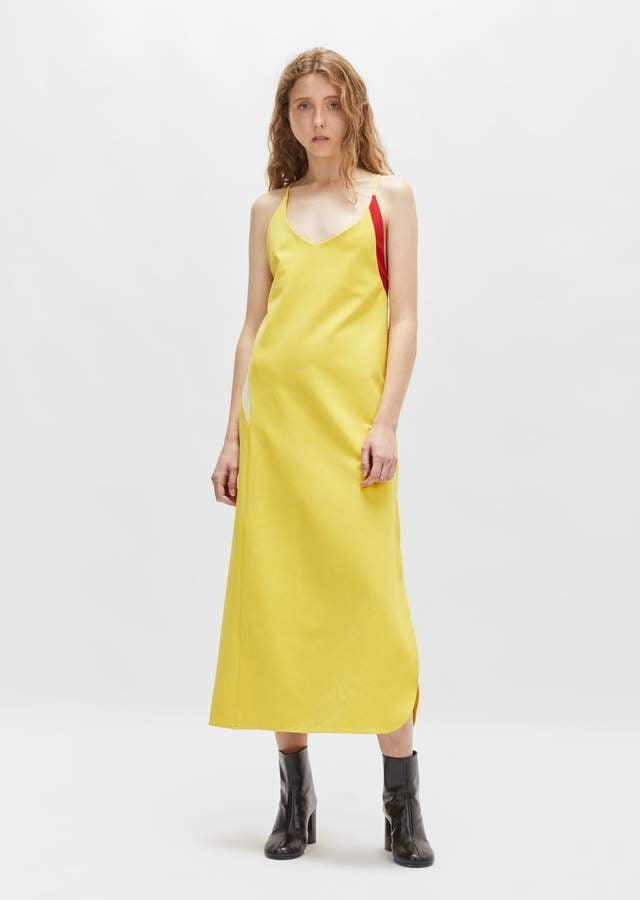Tim Coppens Jersey Slip Dress Yellow