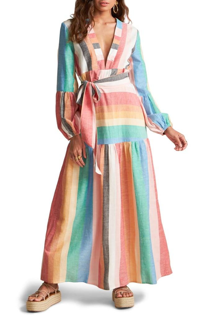 Billabong x Sincerely Jules Mix it Up Stripe Long-Sleeve Maxi Dress