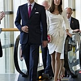 The duchess wore the same Reiss dress from her engagement photos.