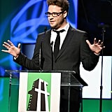 Seth Rogen appeared on stage at the Hollywood Film Awards gala in Los Angeles.