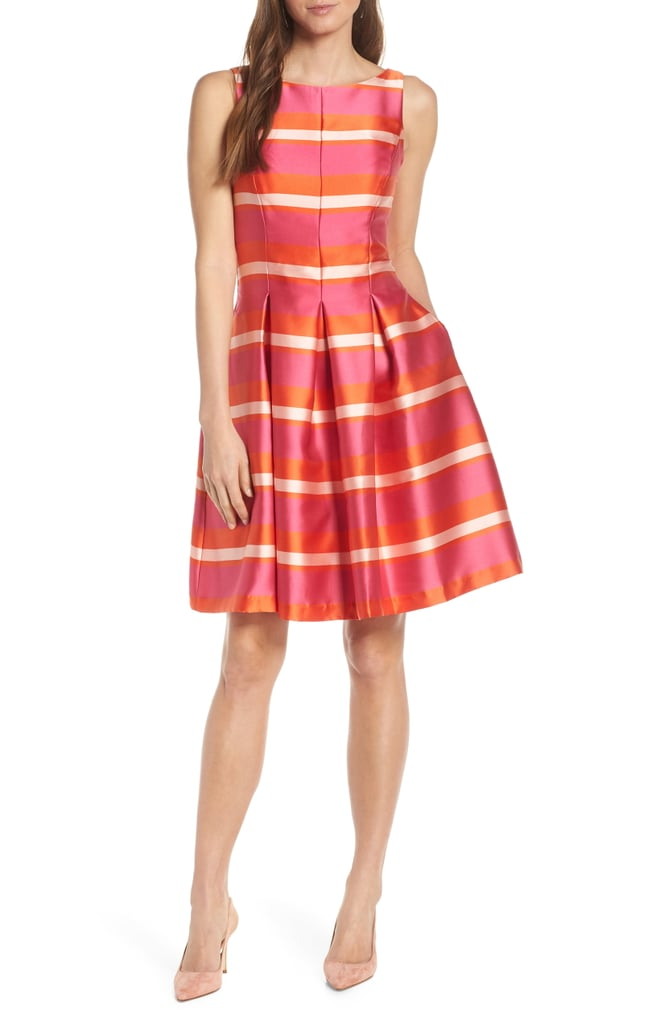 1901 Bow Back Stripe Satin Fit Amp Flare Dress Nordstrom